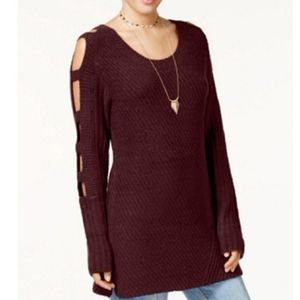 Crave Fame Burgundy Ladder Sleeve Sweater Tunic